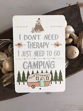 Camping Therapy - Camping Metal Sign - Vintage Camper- Camper Sign - Home Decor