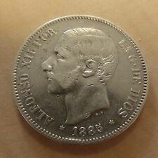 Spain 5 Pesetas 1885 (87) MS-M silver 90% (25g) TB+/S+/F+