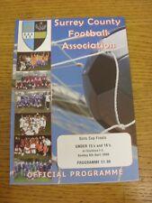 06/04/2008 Football Programme: Surrey County Girls Cup Finals - U15, U16 [At Chi