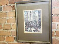 "J. M. Gallais Rockefeller Center Art Watercolor Print Frame Signed 13.5"" x 16"""