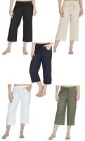 Ladies Linen Blend Summer Cropped Trousers / Holiday 3/4 Length Crops ~ UK 10-24