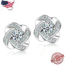 925 Sterling Silver Women Jewelry Love Forever Elegant Crystal Ear Stud Earrings