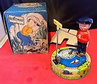 Vintage Tin & Celluloid Wind-Up Billy the Fisherman, Mettoy, Gt. Britain, EXiB