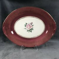 "HOMER LAUGHLIN LADY STRATFORD ROSE GOLD MAROON 11 1/2 "" x 9"" OVAL PLATTER"