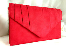 NEW RED FAUX SUEDE EVENING CLUTCH BAG SHOULDER ALL COLOURS HARD