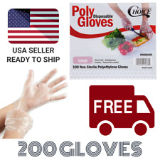 200 Poly Disposable Gloves Textured Latex Free Non-Sterile Size Large