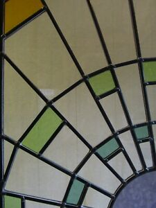 Newly crafted TRADITIONAL Stained Glass Window Panel SUNBURST 275mm x 505mm