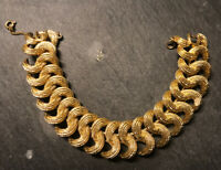 "Women's Gold pl Vintage Double Cuban Link Style Bracelet chain by Monet 7"" 18cm"