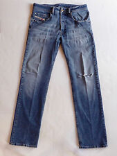 DIESEL Mens Blue Jeans Straight Leg 32x33 Button Fly 93243 Torn Distressed Denim