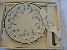 Field Berries Floral Cake Plate and Server Set Porcelain Original Box