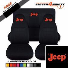 1997-2002 Jeep Wrangler TJ Black Seat Covers / Retro Jeep Design.  9 Colors