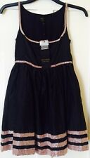NEW Kate Moss Topshop Black Pink Beaded Dress 8
