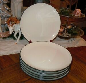 "6pc Noritake Stoneware Colorwave Graphite 10-5/8"" Dinner Plates Pattern 8034Y"