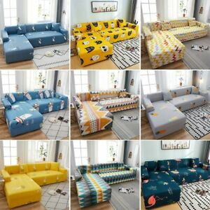 Printed Corner Sofa Covers for Living Room Elastic  Stretch Sofa Towel L Shape