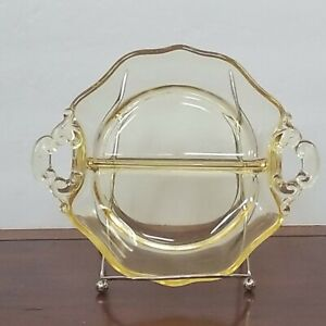 Vintage Yellow Depression Glass Handled 2 Part Divided Dish