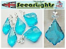 5 chandelier verre cristaux feuilles gouttes turquoise teal prismes lampe pièces bn