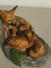 Franklin Mint Endangered Animal Figurines Joaquin Kit Fox Mother and Baby 1989