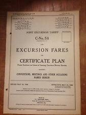 May 1926 Joint Excursion Railroad Tariff C-No. 58 of Excursion Fares