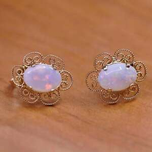 1g, filigree 14K yellow gold studs earrings with opal inlay