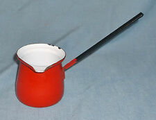 Vintage Red Enamel Small Sauce Butter Warmer Pot Pan Made In Poland