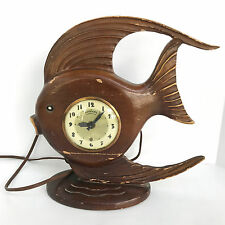 Vintage Lanshire Movement Tropical Fish Wood Hand Carved Mantel Electric Clock
