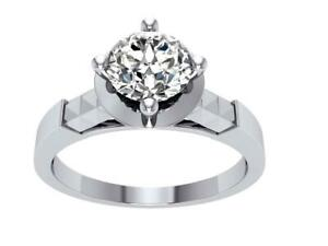Solitaire Engagement Ring SI1G 0.85Ct Natural Diamond 14K White Yellow Rose Gold