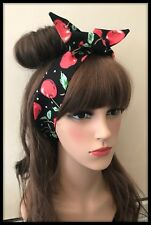 Black Red Cherry Fabric Headband Bandana Hairband Head Hair Tie Band Scarf Bow