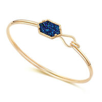 Gold Silver Metal Druzy Cuff Bracelet Royal Blue Boho Drusy Bracelet Bangles