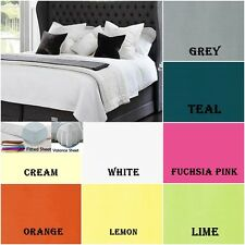 LUXURY PLAIN DYED POLY COTTON PLEATED FITTED & FITTED VALANCE SHEETS ALL SIZES
