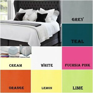FITTED VALANCE SHEETS ALL SIZES LUXURY PLAIN DYED POLY COTTON PLEATED