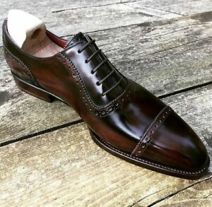 Handmade Men's Genuine Brown Leather Oxford Toe cap Lace up Shoes