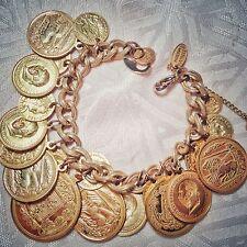 "Fabulous Vintage MIRIAM HASKELL 21-Gold-Tone-Coin Chain Bracelet 7.5"""