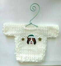 White Hound Dog Themed  MINI Christmas  Sweater  Ornament