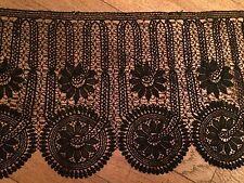 TRINE VINTAGE FRENCH LACE DENTELLE FUSEAU BLACK LONG 4 METRES  XIX Ht 26 cm