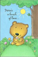 Brown Bear Here's A Bunch Of Flowers Love & Romance Hallmark Greeting Card