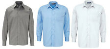 Traditional Button Front Grey / Blue / White School Uniform Shirts - Adult Sizes