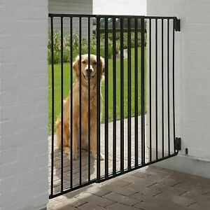 Dog Solid Barrier Gate Pet Garden Patio Outdoor Safety Fence Weatherproof Black
