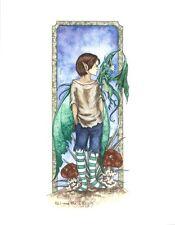 "Amy Brown Fairy Faery Print Eli and His Dragon Green Boy Child 8.5x11"""