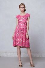 Yoana Baraschi Anthropologie Pink Lace Appliqué Hi Lo Dress UK 12 (US 8)