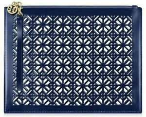 TORY BURCH BLUE clear LACE cutout perforated makeup Bag wristlet clutch pouch