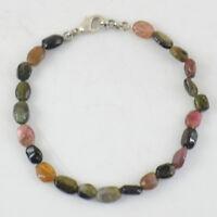 Oval Shape 65.00 Cts Natural Untreated Watermelon Tourmaline Beads Bracelet