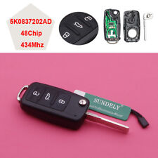 3 Button Flip Remote Key 434MHz ID48 Chip For VW Golf Passat Tiguan 5K0837202AD