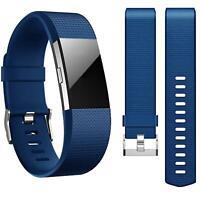 Fitbit Charge 2 Armband Size L Ersatz Band Silikon Sport Ersatzband Fitness Blau