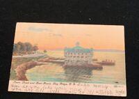 1907 Shore Rd.and Boat House Bay Ridge Brooklyn NY postcard Double Cancel