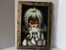 Vintage Mid Century Kitschy Big Eye Velvet Painting Dog Signed Framed Wall Art