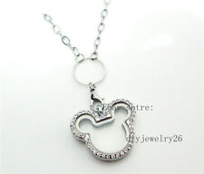 1pcs 30mm Rhinestone mouse Living Floating Memory Locket Necklace Pendant Chain
