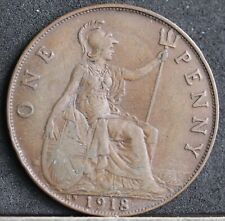More details for george v bronze penny, 1918 kn; kings norton mint, wwi era. avf