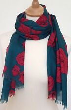 RED POPPY PRINT SCARF IN 100% COTTON bY JUNIPER