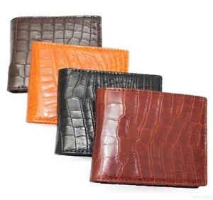 Double Side Handmade Blue Genuine Crocodile Leather Skin MEN'S BIFOLD Wallet