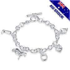 925 Sterling Silver Filled Horse Horseshoe Charm Chain Bracelet